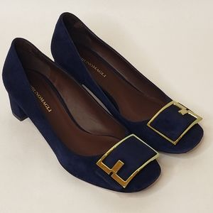 Gorgeous Bruno Magli Blue Suede Shoes